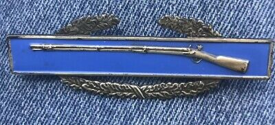 Sterling Silver WW2 Vintage US ARMY COMBAT INFANTRY BADGE CIB (Missing one PIN)