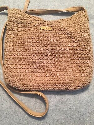 Lucky Brand Crocheted Cotton Shoulder Bag, Natural Tan & Brown Leather Trim