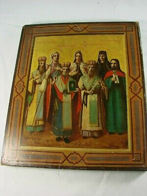 Antique Russian Icon Images of Saints Handpainted on Wood