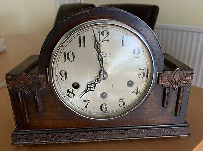 Believe Oak Case; made by CWS; Tymo Face, Westminster chime mantle clock has key