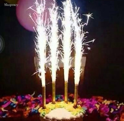 4 x Fountain Cake Firework Sparkling Party Topper Birthday Candles Gold/Silver