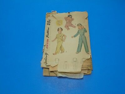 VTG 1950s Sewing Pattern Toddlers Footed Pajamas Size 4 Simplicity 3377