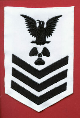 USCG MST1 MARINE SCIENCE SPECIALIST RATING BADGE MALEEMBROIDERED RED ON BLUE:K1
