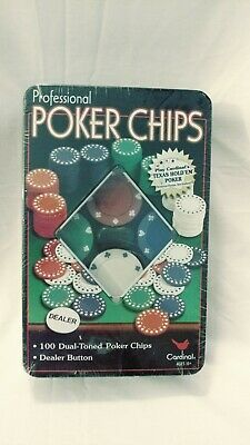 Cardinal Professional 100 Poker Chips in Metal Tin with Dealer Button New