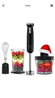 Hand Blender Homgeek 4 in 1 16 Speed 2 Turbo Button Immersion Blender,...
