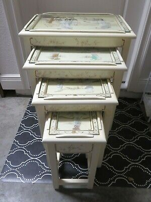 VTG Chinese White Lacquer Set 4 Nesting Stacking Tables Geisha Mother of Pearl