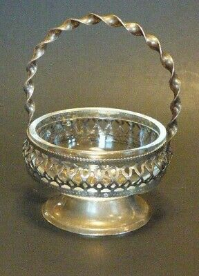Vintage Westminster Hand Made English Crystal & Silver Plate Twist Handle Basket