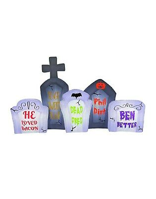 NEW 8 ft Long Inflatable Halloween Tombstone w/ LED Flashing Lights Outdoor Deco