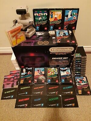 Nintendo Entertainment System Deluxe Console with Black Box Games Lot NES CIB