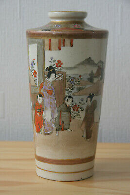 Antique Japanese Meiji Satsuma Vase 180mm Tall Meiji period (rubbed in places)