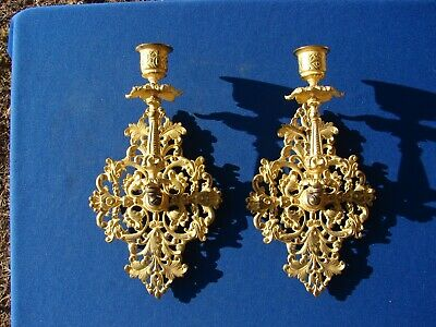 VTG Ornate WALL SCONCE Candle Holder Gold Tone METAL Hollywood Regency PAIR