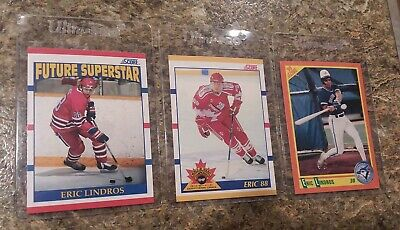 (3) 1990-91 Score Eric Lindros Rookie card lot Score Traded 1990 Baseball HOF RC