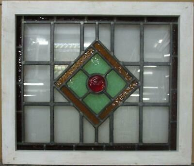 "MIDSIZE OLD ENGLISH LEAD STAINED GLASS WINDOW Geometric & Bullseye 25.75"" x 22"""