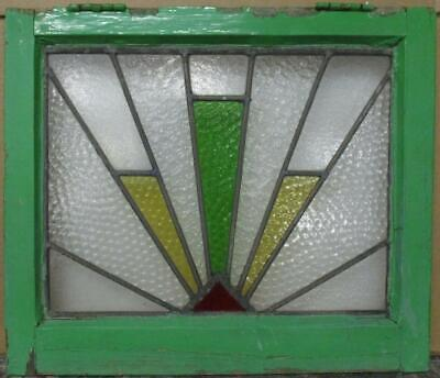 """OLD ENGLISH LEADED STAINED GLASS WINDOW Gorgeous Geometric Burst 20"""" x 17.25"""""""