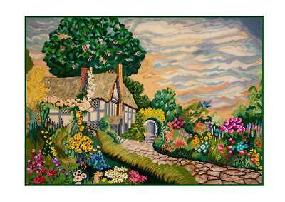 COTTAGE WITH FLOWERS Handpainted Needlepoint Canvas by JP Needlepoint