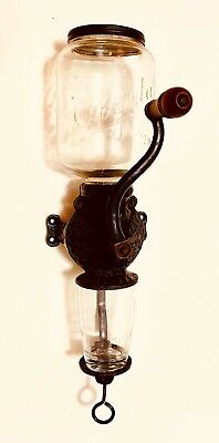 1900's ARCADE CRYSTAL No 3 Cast Iron Wall Mount Coffee Grinder