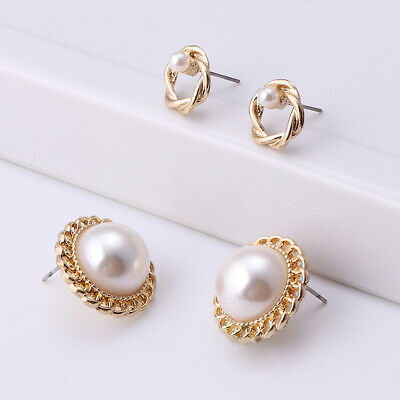 2 Pairs Faux Pearl Round Women Ear Stud Earrings Set Charm Party Jewelry Charm