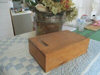 Antique wood slide top box. Dovetailed. Unusual size.