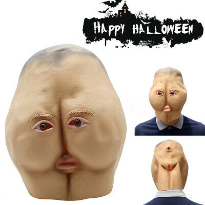 Latex Butt Hip Full Head Mask Adult Creepy Halloween Party Costume Prop