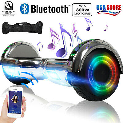 Bluetooth Hoverboard LED Electric Self Balancing Scooter UL2272 CE Sliver W/ Bag