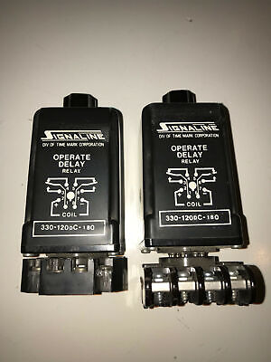 TWO Signaline 330-120dc-180     60 Hz Timing Relays w/bases