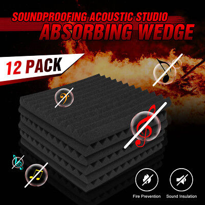 12 Pcs Soundproofing Acoustic Studio Absorption Wedge Foam Tiles UK