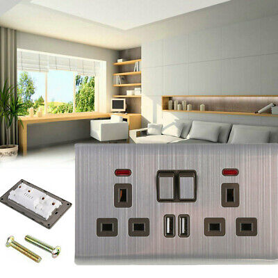 Hot Double Wall Plug Socket 2 Gang 13A w/ 2 Charger USB Ports Outlets Flat Plate