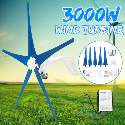 3000W 12/24/48V 3/5 Blades Wind Turbines Generator Horizontal Charge