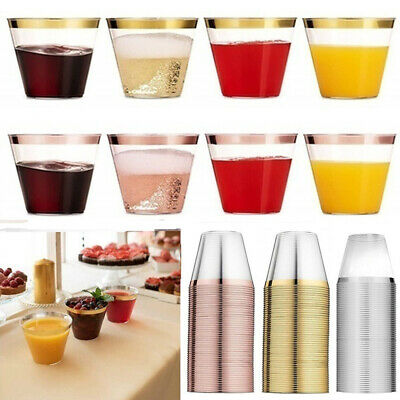 Disposable Plastic Cups Rose Gold Rimmed Transparent Party Cups Tableware AU