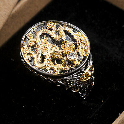 Chinese Dragon Carved Men's Retro 18K Black Gold Plated Ring Party Jewelry Gift