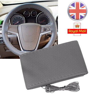 Universal Grey Cowhide Leather Car Truck Steering Wheel Cover + Thread + Needles
