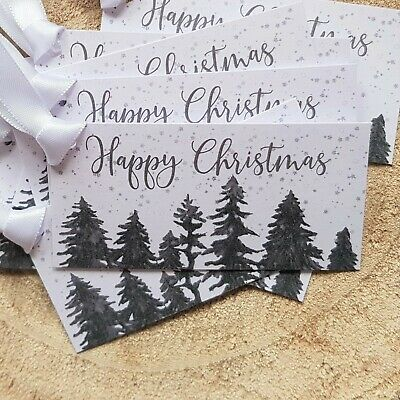 Christmas Gift Tags -Wintery Christmas Scene -White Double Satin Ribbon Included