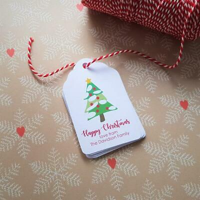 Personalised Christmas Gift Tags - Christmas Tree - Including Bakers Twine