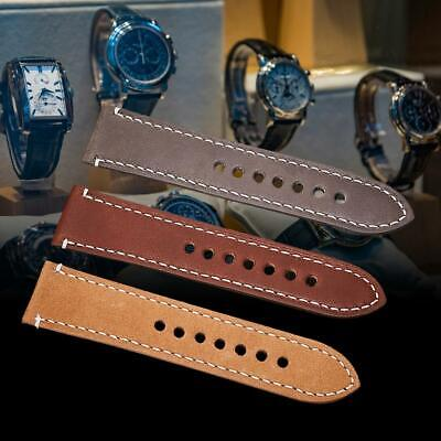 Vintage 20mm Genuine Leather Watch Strap Replacement Wristwatch Band 3Colors