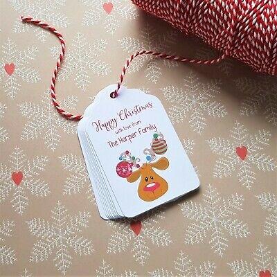 Personalised Christmas Gift Tags - Rudolph Reindeer - Including Bakers Twine