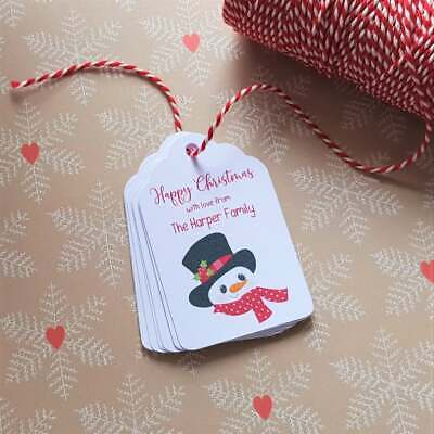 Personalised Christmas Gift Tags - Snowman - Including Christmas Bakers Twine