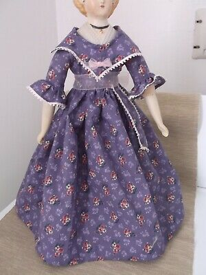 "16"" French Fashion Doll Cotton Day Dress. Very pretty fabric and trims."