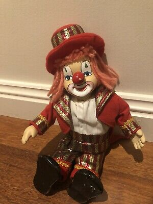 Vintage Porcelain Clown Doll With Wind Up Song And Moving Head