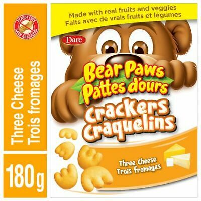 Dare,Bear Paws, Three Cheese Crackers, 180g/6.3oz., {Imported from Canada}