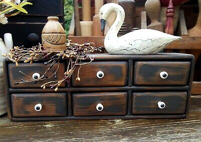 Antique 6 Drawer Wood Spice Cabinet/Box/Cupboard-Apothecary chest BLACK Distress