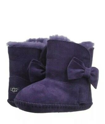 New UGG Baby Girl Cabby Bow Boots Shoes Size 4/5 / 12-18 M Purple Shower Gift