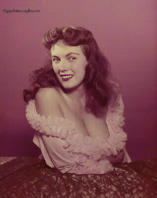 Bunny Yeager 1950s Color Camera Transparency Self Portrait Revealing Busty Pose