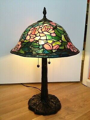 """Vintage Dale Tiffany Stained Glass Lamp Slag Leaded 24""""x16"""" Stunning Floral"""