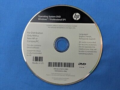 HP Operating System DVD Windows 7 Professional SP1 Recovery Disc OEM