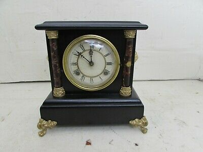 Antique Waterbury Clock Co. Striking Mantle Clock, Wood Case, Gilt Metal Mounts