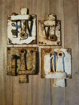 4 Georgian? painted latches sculptural wall art distressed one not complete
