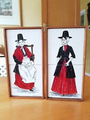 "Pair of 1960's Hand Painted Wooden Framed 2 Tile Panel 4¼"" Square by Pat Giles"