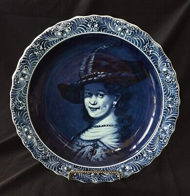 """Large 16"""" Royal Delft Charger """"Saskia of Rembrandt"""" BEAUTIFUL"""