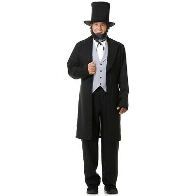 Abe Lincoln with Hat Costume Adult Halloween Fancy Dress