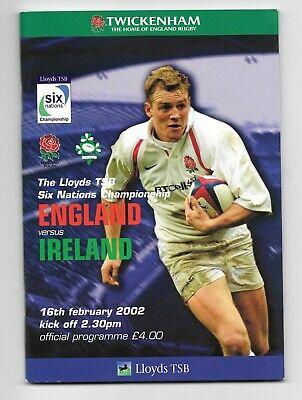 England V Ireland 6 Nations Rugby Union Programme 2002